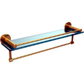 Fresno Collection 22 Inch Glass Shelf with Vanity Rail and Integrated Towel Bar, Unlacquered Brass