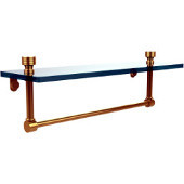Foxtrot 16 Inch Glass Vanity Shelf with Integrated Towel Bar, Unlacquered Brass