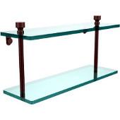 Foxtrot Collection 16'' Double Glass Shelf, Premium Finish, Antique Copper