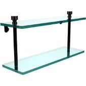 Foxtrot Collection 16'' Double Glass Shelf, Premium Finish, Oil Rubbed Bronze