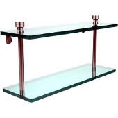 Foxtrot Collection 16'' Double Glass Shelf, Standard Finish, Polished Chrome
