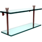 Foxtrot Collection 16'' Double Glass Shelf, Premium Finish, Polished Nickel