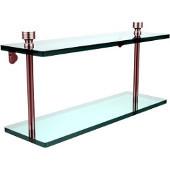 Foxtrot Collection 16'' Double Glass Shelf, Premium Finish, Satin Chrome