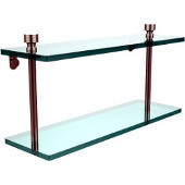 Foxtrot Collection 16'' Double Glass Shelf, Premium Finish, Satin Nickel