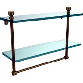 Foxtrot Collection 16'' Double Glass Shelf with Towel Bar, Premium Finish, Antique Brass