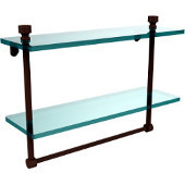 Foxtrot Collection 16'' Double Glass Shelf with Towel Bar, Premium Finish, Rustic Bronze