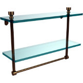 Foxtrot Collection 16'' Double Glass Shelf with Towel Bar, Premium Finish, Brushed Bronze