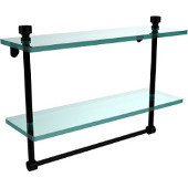 Foxtrot Collection 16 Inch Two Tiered Glass Shelf with Integrated Towel Bar, Matte Black