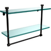 Foxtrot Collection 16'' Double Glass Shelf with Towel Bar, Premium Finish, Oil Rubbed Bronze