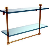 Foxtrot Collection 16'' Double Glass Shelf with Towel Bar, Standard Finish, Polished Brass