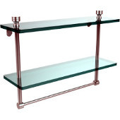 Foxtrot Collection 16'' Double Glass Shelf with Towel Bar, Standard Finish, Polished Chrome