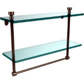 Foxtrot Collection 16'' Double Glass Shelf with Towel Bar, Premium Finish, Antique Pewter