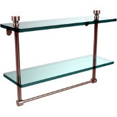 Foxtrot Collection 16'' Double Glass Shelf with Towel Bar, Premium Finish, Polished Nickel