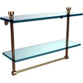 Foxtrot Collection 16'' Double Glass Shelf with Towel Bar, Premium Finish, Satin Brass