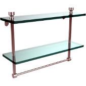 Foxtrot Collection 16'' Double Glass Shelf with Towel Bar, Premium Finish, Satin Chrome