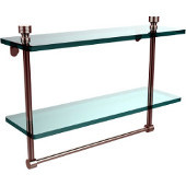 Foxtrot Collection 16'' Double Glass Shelf with Towel Bar, Premium Finish, Satin Nickel