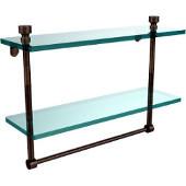 Foxtrot Collection 16'' Double Glass Shelf with Towel Bar, Premium Finish, Venetian Bronze