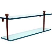Foxtrot Collection 22'' Double Glass Shelf, Premium Finish, Antique Brass