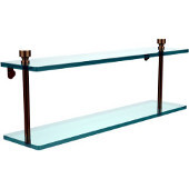 Foxtrot Collection 22'' Double Glass Shelf, Premium Finish, Brushed Bronze