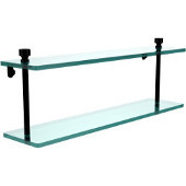Foxtrot Collection 22 Inch Two Tiered Glass Shelf, Matte Black