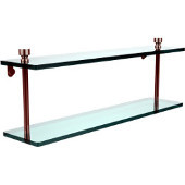 Foxtrot Collection 22'' Double Glass Shelf, Premium Finish, Polished Nickel