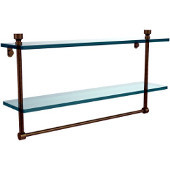 Foxtrot Collection 22'' Double Glass Shelf with Towel Bar, Premium Finish, Antique Brass