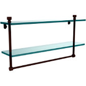 Foxtrot Collection 22'' Double Glass Shelf with Towel Bar, Premium Finish, Rustic Bronze