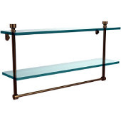 Foxtrot Collection 22'' Double Glass Shelf with Towel Bar, Premium Finish, Brushed Bronze