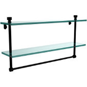 Foxtrot Collection 22 Inch Two Tiered Glass Shelf with Integrated Towel Bar, Matte Black
