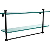 Foxtrot Collection 22'' Double Glass Shelf with Towel Bar, Premium Finish, Oil Rubbed Bronze