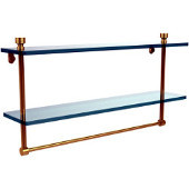 Foxtrot Collection 22 Inch Two Tiered Glass Shelf with Integrated Towel Bar, Unlacquered Brass