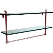Foxtrot Collection 22'' Double Glass Shelf with Towel Bar, Standard Finish, Polished Chrome