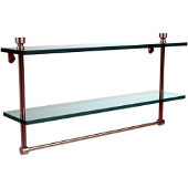 Foxtrot Collection 22'' Double Glass Shelf with Towel Bar, Premium Finish, Polished Nickel