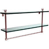 Foxtrot Collection 22'' Double Glass Shelf with Towel Bar, Premium Finish, Satin Chrome