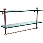Foxtrot Collection 22'' Double Glass Shelf with Towel Bar, Premium Finish, Satin Nickel