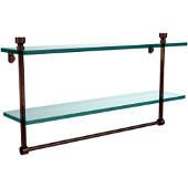 Foxtrot Collection 22'' Double Glass Shelf with Towel Bar, Premium Finish, Venetian Bronze