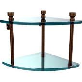 Foxtrot Collection Two Tier Corner Glass Shelf, Antique Brass