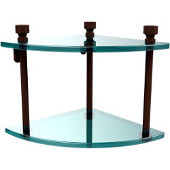 Foxtrot Collection Two Tier Corner Glass Shelf, Antique Bronze
