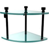 Foxtrot Collection Two Tier Corner Glass Shelf, Matte Black