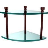 Foxtrot Collection Two Tier Corner Glass Shelf, Antique Copper