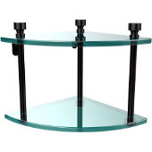 Foxtrot Collection Two Tier Corner Glass Shelf, Oil Rubbed Bronze