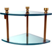 Foxtrot Collection Two Tier Corner Glass Shelf, Polished Brass