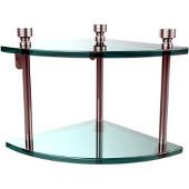 Foxtrot Collection Two Tier Corner Glass Shelf, Polished Chrome