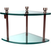 Foxtrot Collection Two Tier Corner Glass Shelf, Polished Nickel