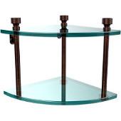 Foxtrot Collection Two Tier Corner Glass Shelf, Venetian Bronze