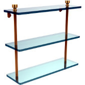 Foxtrot Collection 16'' Triple Glass Shelf, Standard Finish, Polished Brass