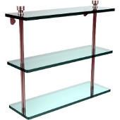 Foxtrot Collection 16'' Triple Glass Shelf, Premium Finish, Satin Chrome