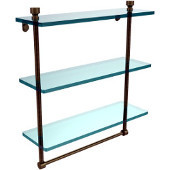 Foxtrot Collection 16 Inch Triple Tiered Glass Shelf with Integrated Towel Bar, Antique Brass