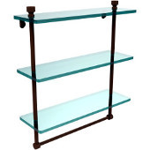 Foxtrot Collection 16 Inch Triple Tiered Glass Shelf with Integrated Towel Bar, Antique Bronze