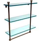 Foxtrot Collection 16 Inch Triple Tiered Glass Shelf with Integrated Towel Bar, Brushed Bronze